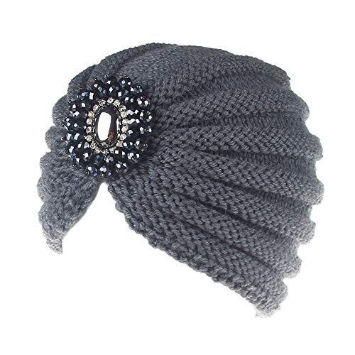 HAOLIEQUAN Mode Frauen Hut Kappe Damen Metall Juwel Zubehör Winter Warme Edelstein Turban Weiche Strickmützen Beanie Häkeln Hüte, Dunkelgrau (Pelz-juwel)