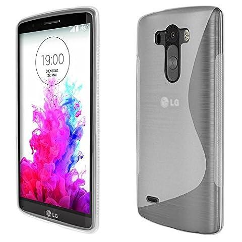 eFabrik Silikon Tasche für LG G3 Smartphone (14 cm (5,5 Zoll) Hülle Case Schutzhülle Handy Schutztasche Cover S-Line TPU weiß transparent