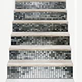 Stairs Sticker Entrance 3D Stairs Stickers Gold Silver Plaid Decoration Waterproof Europe Wall Stickers,Silver-100*18cm*6pcs