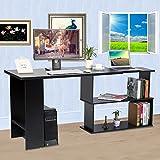 GOTOTOP Ecke Computer Schreibtisch L-Form Arbeitstisch Schwenkbar Bürotisch mit Platzsparendes Design für Büro Arbeitszimmer Studierzimmer (Schwarz)