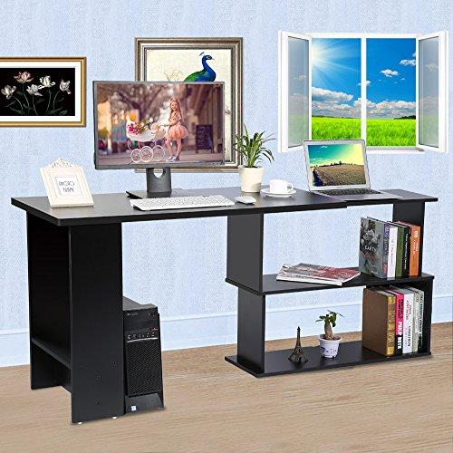 Eck-schreibtisch L-form (Ecke Computer Schreibtisch L-Form Arbeitstisch Schwenkbar Bürotisch mit Platzsparendes Design für Büro Arbeitszimmer Studierzimmer (Schwarz))