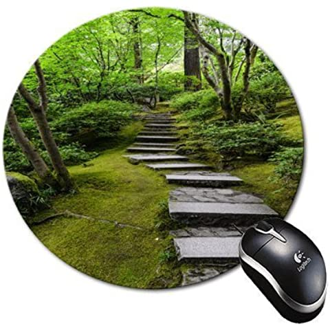 BlueBerry Design Green Forest Design Round Mouse Pad Mousepad - Ideal Gift for all occasions