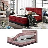 Moebel89 Boxspringbett Damaso in rot/schwarz mit Bettkasten, Farbe wie abgebildet 180cm x 200cm/Bett, Doppelbett, Hotelbett, Gästebett als Boxspringbett mit Federkern mit Schaumpolsterung