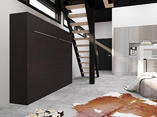 Schrankbett 140×200 cm Horizontal Wenge Schrankklappbett & Wandbett, ideal als Gästebett – Wandbett, Schrank mit integriertem Klappbett, SMARTBett - 2