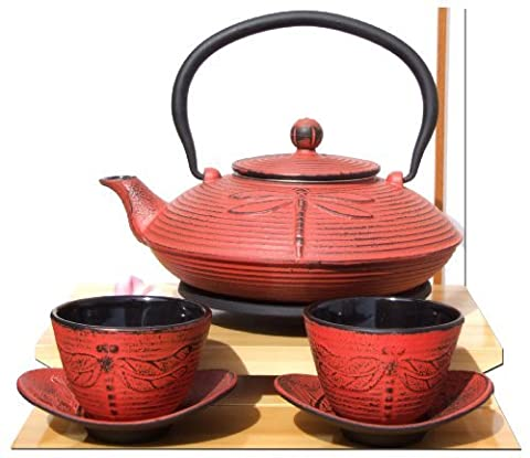 Cast Iron Sunset Red Dragonfly Tea set D - Tetsubin