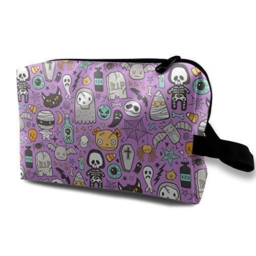 Makeup Bag Portable Travel Cosmetic Bag Halloween Doodle Skulls,Spiders,Skeleton,Bat, Ghost,Web, Zombies On Purple Mini Makeup Pouch for Women Girls