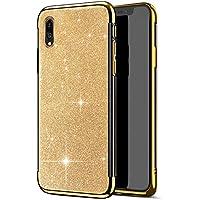 Robinsoni Funda Compatible con Huawei Y7 Pro 2019 Funda Silicona Huawei Enjoy 9 Carcasa Sparkle Bling Carcasa Gel Goma Caso Ligera Suave Case Flexible Ultra Suave Brillante Carcasa Funda,Oro