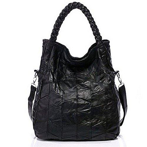 Fashion Mode Damen Handtasche Leder Damentasche Schultertasche Handbag Damentasche Schwarz Tote Bag Armband Handtaschen (M: 36x40x14cm)