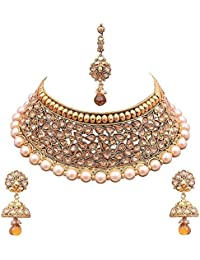 18 K Gold Plated Antique Rajwadi Fashion/Imitation Jewellery Stone Choker Necklace Set For Girls And Women For...