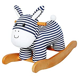 Labebe Baby Wooden Rocking Horse Stripe Donkey, Boys & Girls Toddler Rocking Ride-on Toys for 1-3 years old, Stuffed Animal Seat, ASTM/CE Safety Certified, Creative Birthday Gift
