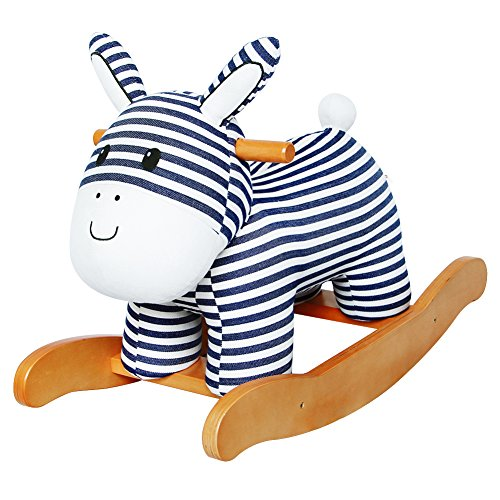 Labebe Baby hölzernes Schaukelpferd Streifen-Esel, Jungen & Mädchen Kleinkind SchaukelnReiten-auf Spielzeug für 1-3 Jahre alt, Gefüllter Tier Sitz, ASTM / CE / CE Sicherheit zertifiziert, kreatives (Esel Usa Hat)