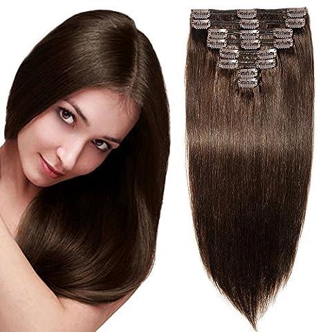 """10""""-22"""" Double Weft Extensions a Clip en Cheveux Naturels Maxi Volume - 100% Remy Hair - 8 Pcs Clip in Human Hair Extensions (#2 Châtain Foncé, 25cm-110g)"""