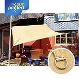 sunprotect SPT83200 Sonnensegel professional, 3 x 3 m, Quadrat, beige (1 Stück)