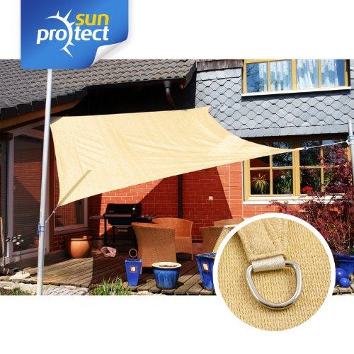sunprotect 83263 Professional Toldo / Vela de Sombra, 3.6 x 3.6 m, cuadrado, beige