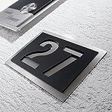 Metzler-Trade® Hausnummer aus hochwertigem V2A-Edelstahl und Acrylglas - in Anthrazit! - Rostfrei und witterungsbeständig - alle Nummern und Buchstaben möglich, auch Sonderzeichen! - aus robustem Edelstahl - witterungsbständig und langlebig - 150 x 215 mm (Schwarz)