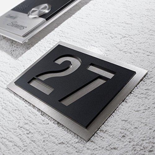 nummer aus hochwertigem V2A-Edelstahl und Acrylglas - in Anthrazit! - Rostfrei und witterungsbeständig - alle Nummern und Buchstaben möglich, auch Sonderzeichen! - aus robustem Edelstahl - witterungsbständig und langlebig - 150 x 215 mm (Schwarz) (Uv-unsichtbare Farbe)
