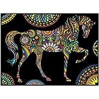 """Terciopelo color de 47 x 35 cm """"Mandala del caballo"""" Dibujo Sistema de Coloración (grande, Multi-Color)"""