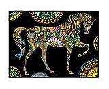 Terciopelo color de 47 x 35 cm 'Mandala del caballo' Dibujo Sistema de Coloración (grande, Multi-Color)