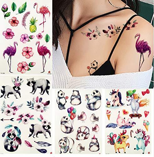 Einhorn Panda Tattoo temporäre Kind Arm Brust Lotusblatt Kind Cartoon Tattoo Sticker Körper Flamingo Tattoo Sticker ()