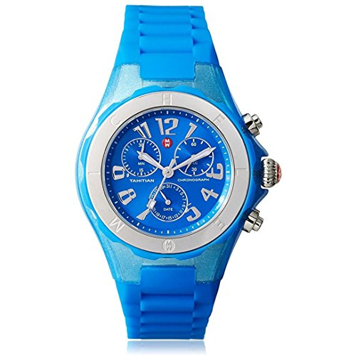 MICHELE WOMEN'S 39MM BLUE SILICONE BAND STEEL CASE QUARTZ WATCH MWW12F000074