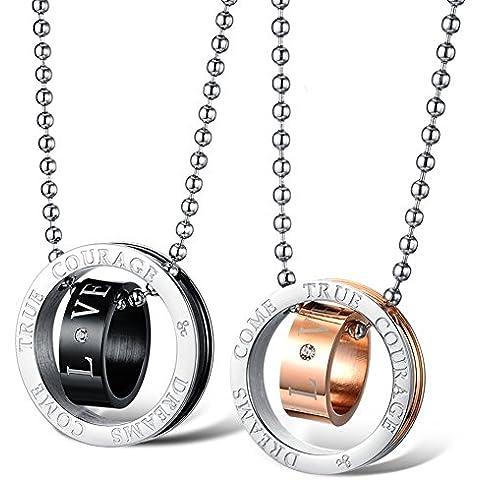 ZWX Coreano del doppio-anello collana pendente/ In acciaio al titanio coppia collana gioielli-A