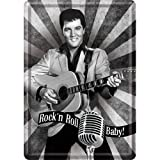 Nostalgic-Art 10194 Celebrities - The King - Rock'n Roll Baby, Blechpostkarte 10 x 14 cm