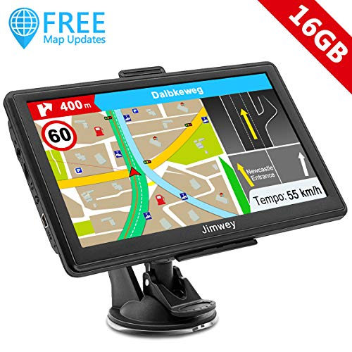 SAT NAV GPS Navigation System, Jimwey 7 Inch 16GB Latest 2019 Maps Car  Truck Lorry Satellite Navigator Device, UK & Full Europe with Lifetime Free