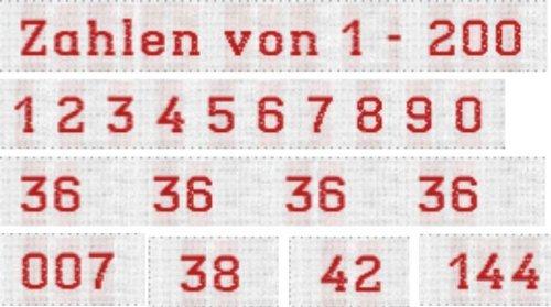 100 Webetiketten Textiletiketten Zahlen (1 Zahl von 1 - 200 frei wählbar) zum Einnähen in Kleidung. Schriftfarbe Rot 10mm hoch