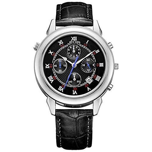 JEDIR Herrenuhr Chronograph Weiß einzigartiges Design mit Datum Sport Style und Schwarz Echtem Lederarmband