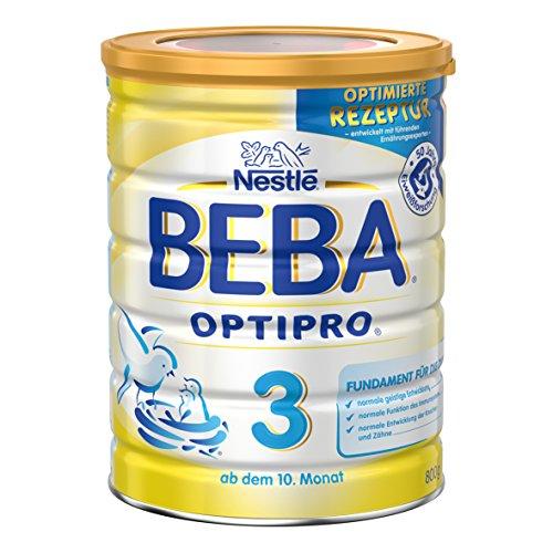 Nestlé 6er Pack Baby Folgemilch ab dem 10. Monat, 6 x 800 g Dose, BEBA OPTIPRO 3