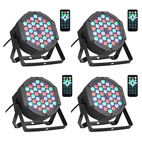(Lrifuer LED Stage Lights 36LED 36W Par Lights by Remote and DMX Control for Wedding Church Christmas party Halloween bar Stage Lighting (4PC))