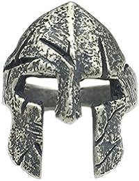 Helen de Lete Original Anillo ajustable de plata de ley 925 con casco de guerrero espartano