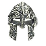 Helen de Lete Original Anillo ajustable de plata de ley 925 con casco de guerrero espartano clásico para hombre