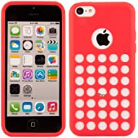 kwmobile Hülle für Apple iPhone 5C - TPU Silikon Backcover Case Handy Schutzhülle - Cover klar Polka Design Weiß Rot