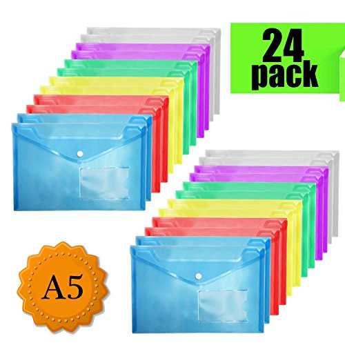 Foto de Carpetas Plastico - A5 Carpeta Portadocumentos Archivadora Documentos con botón y bolsillo (24 unidades)
