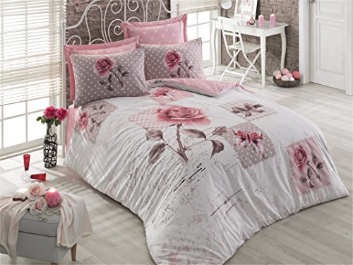 Cotton Box 100% Cotton Duvet Cover Bedding Set Bed Linen in Luxury Box (Double, Diorr Rose)