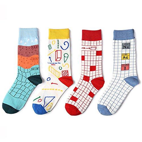 paisdola Pack de 4 calcetines ocasionales divertidos impresos del equipo de algodón de la pintura famosa de la hembra (Geometría matemática)