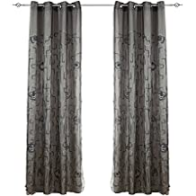 2 patas, Visillos Cortinas Dobles con Bordado de Ojales Mates para Ventanas de Salón Habitación Dormitorios, 150x260cm, GRIS