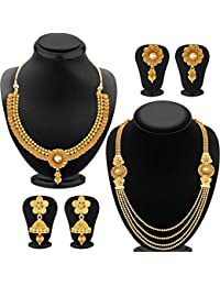 YouBella Fashion Jewellery Gold Plated Combo Of Two Traditional Necklace Set For Women Party Wear And Wedding...