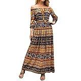 Malloom Femmes Boho Maxi Dress Chic Sexy Hors Épaule À Manches Longues Soirée Robe De Cheville Longueur S-XL...