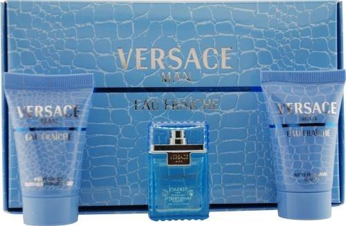 Versace Man Eau Fraiche Geschenkset 5ml EDT + 25ml Duschgel + 25ml Aftershave Balsam
