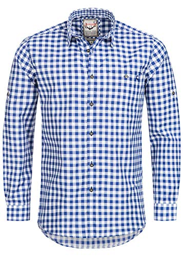 Stockerpoint Trachtenhemd OC-Franzl | kariert | Regular Fit (L, Blau)