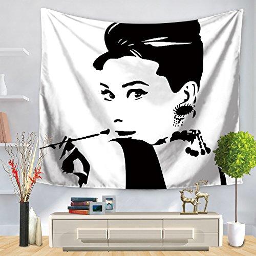 ll Hanging Audrey Hepburn Home Decoration Table Cloth Mandala Boho Sandy Beach Picknick Rug Blanket Sleeping Pad 150 * 130 GT1192-1 ()