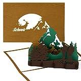 """'3d pop up scheda Svizzera (in legno)–""""Svizzera Alpi–Cervino–Biglietto d' auguri come souvenir, Viaggio Buono e invito per escursioni, Arrampicata e Alpinismo"""