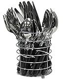 24Stück Besteck-Set Edelstahl rund mit Farbige Kunststoffgriffe Plus Platz für Rack in schwarz, blau, braun, grün, orange, rot oder weiß - schwarz