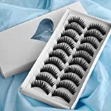 10 PAIRES FAUX CILS CIL NOIR VOLUMINEUX FALSE EYE-LASH