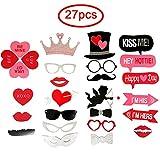 27pcs Accessoires Photobooth Masquerade Accessoires de Photos Lèvre/ Lunettes/ Cravate/ Couronne/ Moustache Avec Bâton pour Faire la Fête, Mariage