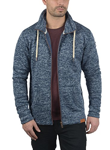 !Solid Luki Herren Fleecejacke Sweatjacke Jacke mit Stehkragen und Melierung, Größe:S, Farbe:Insignia Blue Melange (8991) - 3
