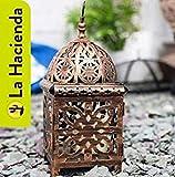 La Hacienda 32cm antik Stil Bronze gebürstet Marokkanische Laterne–Für Innen Deko Teelicht Säule Kerzenhalter/Outdoor Garten Ornament geeignet.