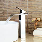 Bonade Chrom einzigen Griff Wasserfall Badezimmer großen rechteckigen Auslauf Vanity Waschbecken Wasserhahn Mixer Wasserhahn